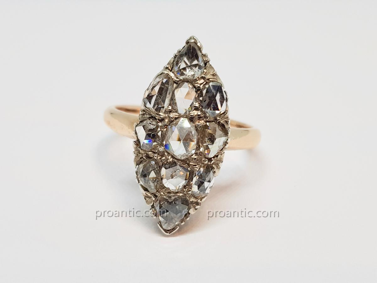 Bague Roses De Diamants 1.50 Carat en Or Rose 18 Carats 750/1000 5.45 Grammes