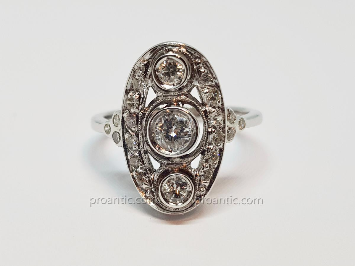 Antique Art Deco Ring Diamonds 0.80 Carat In 18k White Gold 750/1000 5 Grams