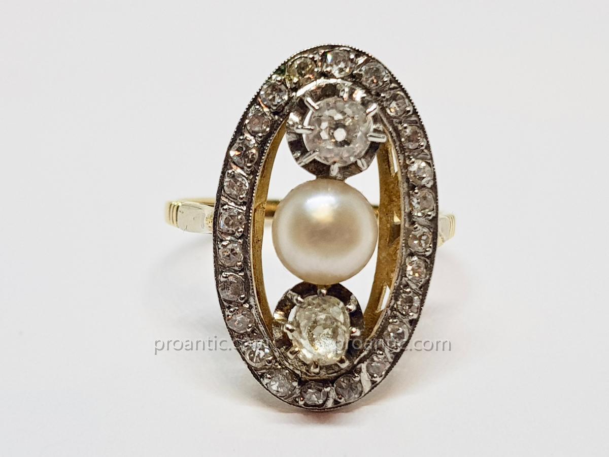 Bague Ancienne Perle & Diamants En Or Jaune 18 Carats 750/1000 Platine 850/1000 4.50 Grammes