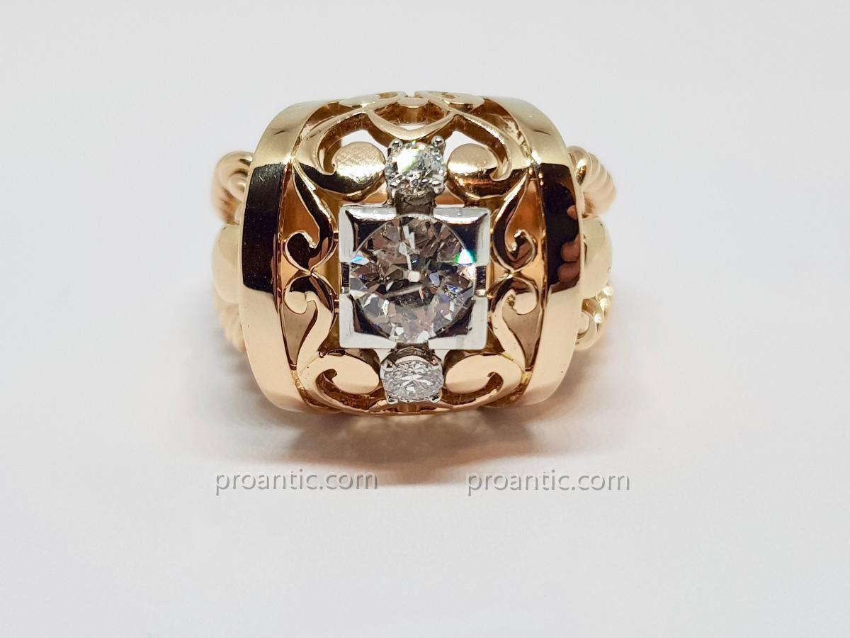 Bague Ancienne En Or Jaune 18 Carats 750/1000 & Platine 850/1000 Diamants 16.92 Grammes