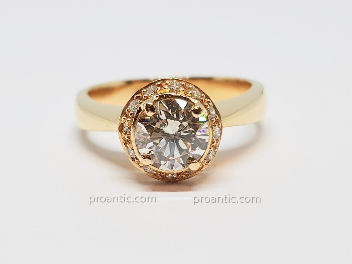 Engagement Ring - Solitaire Diamonds 1.50 Carat In 18k Yellow Gold 800/1000 7.30 Grams