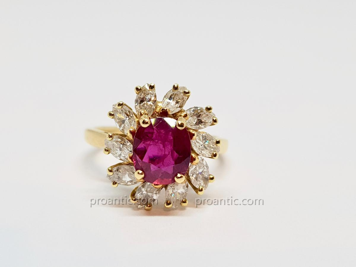 Pompadour Ring Rubis 0.90 Carat & Diamonds In Yellow Gold 18 Carats 750/1000 3 Grams