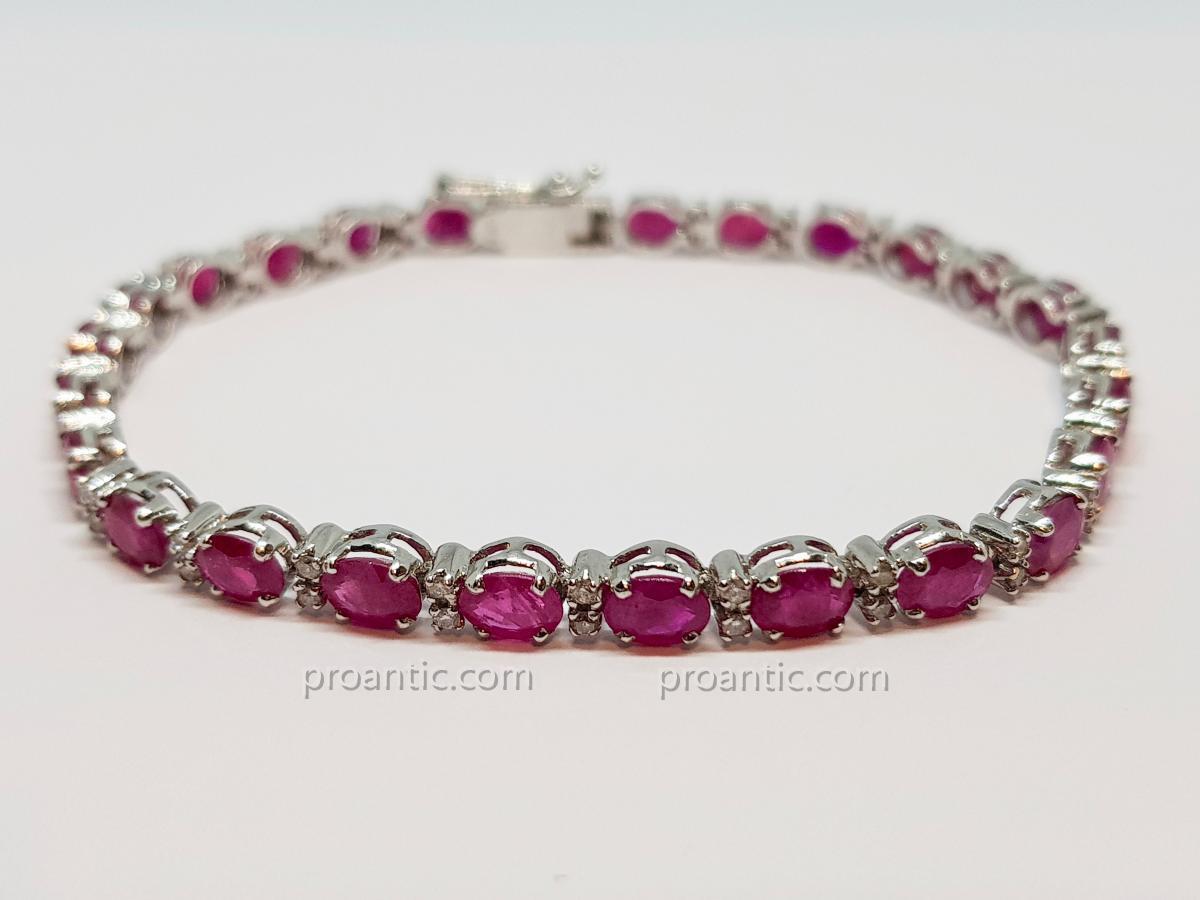 Bracelet Rivière Rubis & Diamants En Or Blanc 18 Carats 750/1000 7.92 Grammes