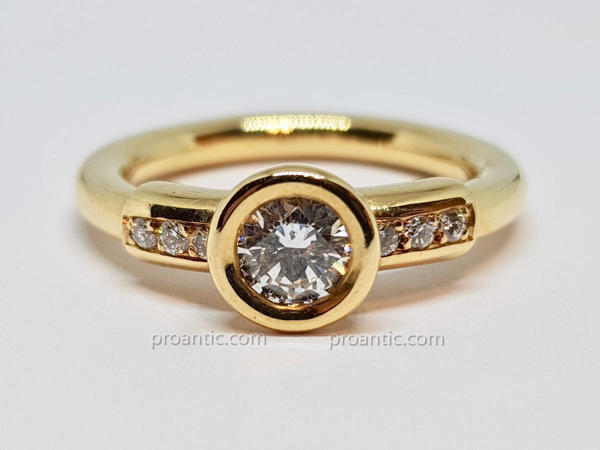Bague Diamants 0.60 Carat En Or Jaune 18 Carats 750/1000 7.20 Grammes