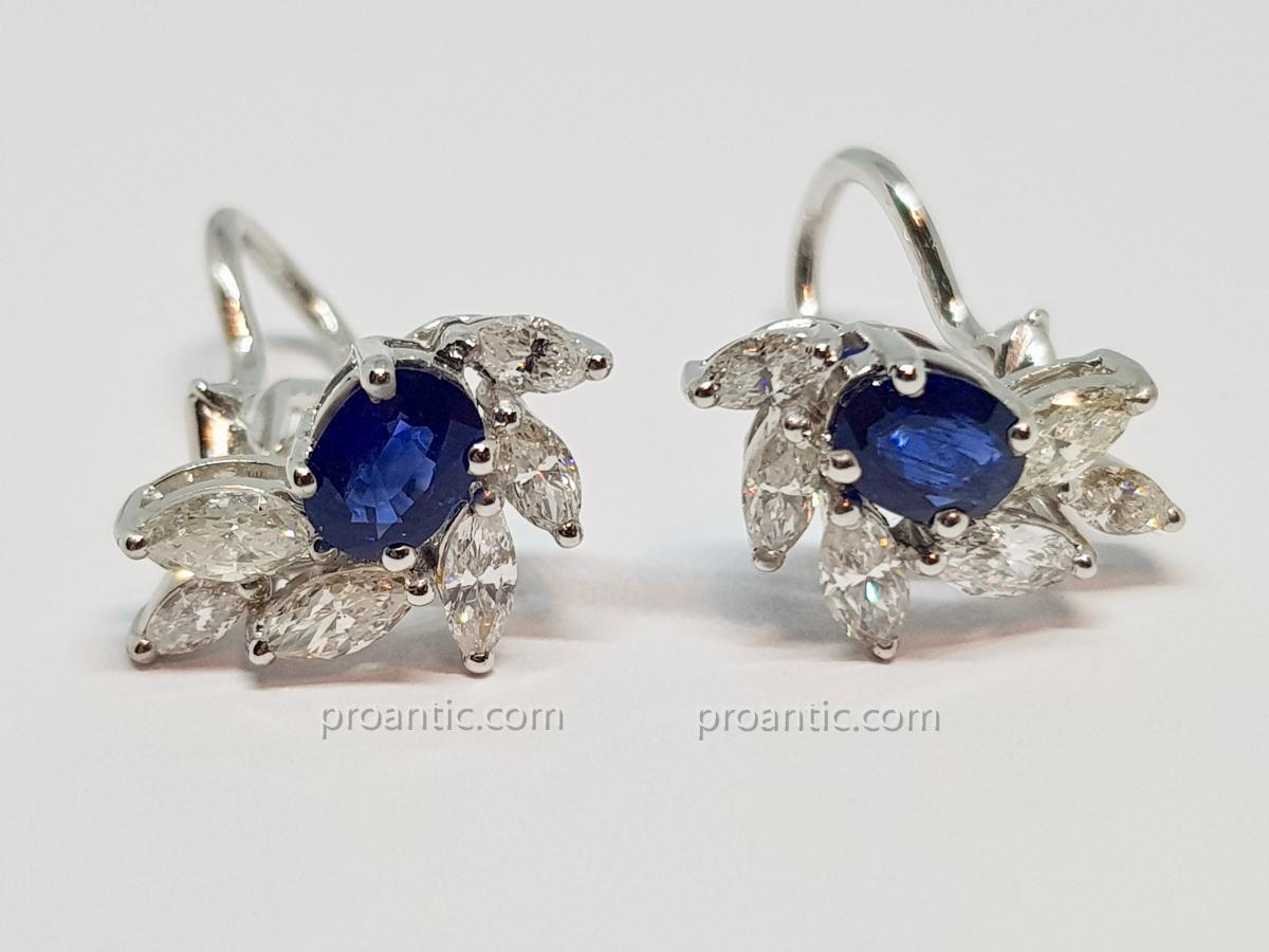 Boucles d'Oreilles En Or Blanc 18 Carats 750/1000 Saphirs & Diamants 5.85 Grammes