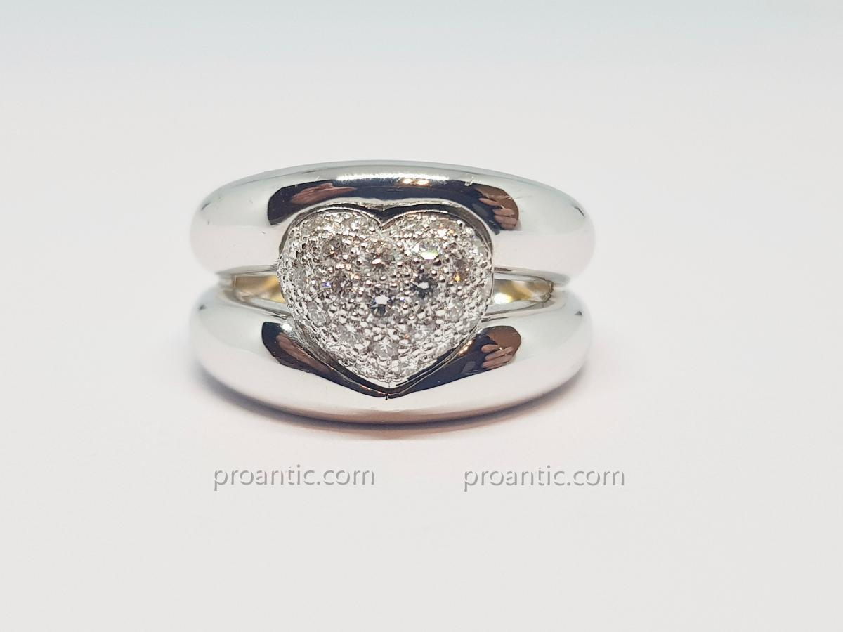 Heart Ring Diamonds 0.30 Carat In White Gold 18 Carats 750/1000 9.23 Grams