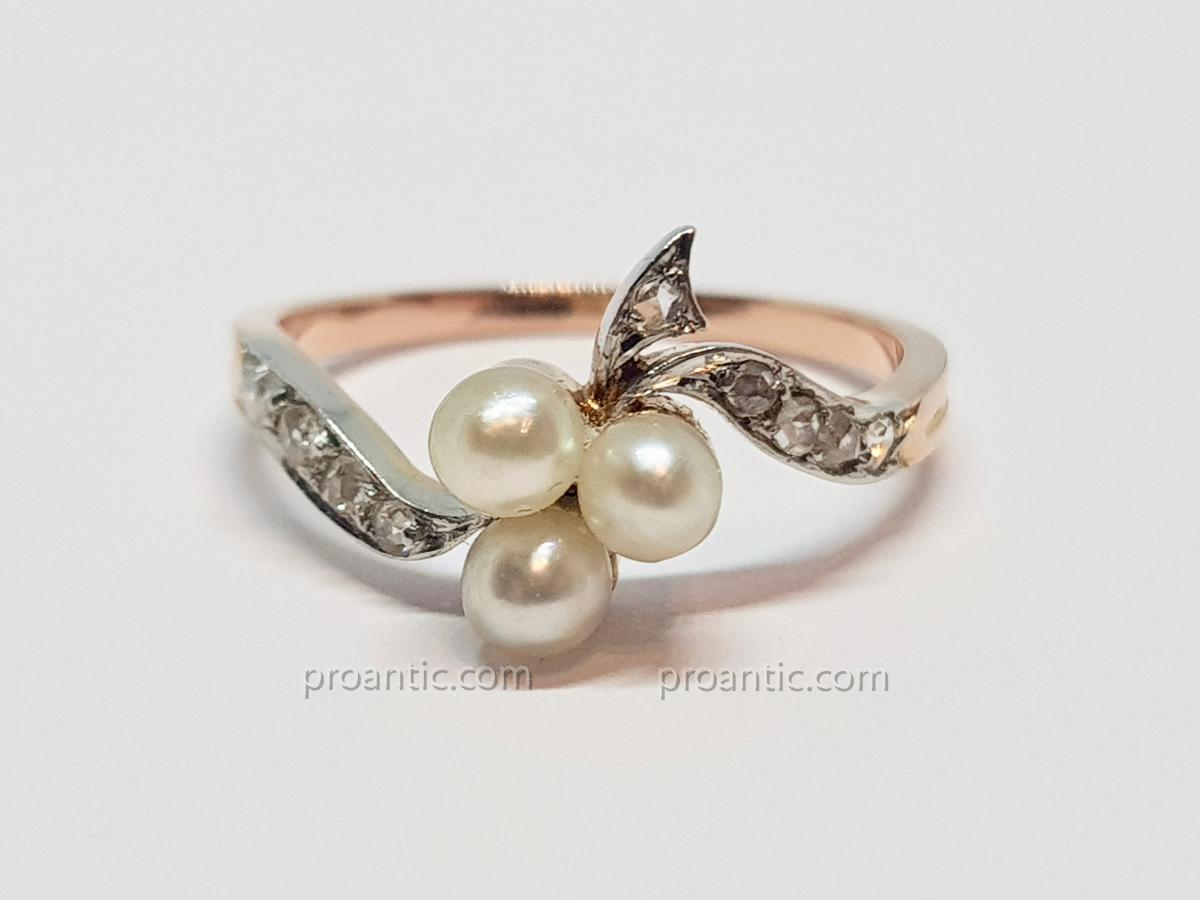 Antique Art Nouveau Ring Pearls Culture & Roses Diamond Rose Gold 18k 750/1000 2.30 Grams