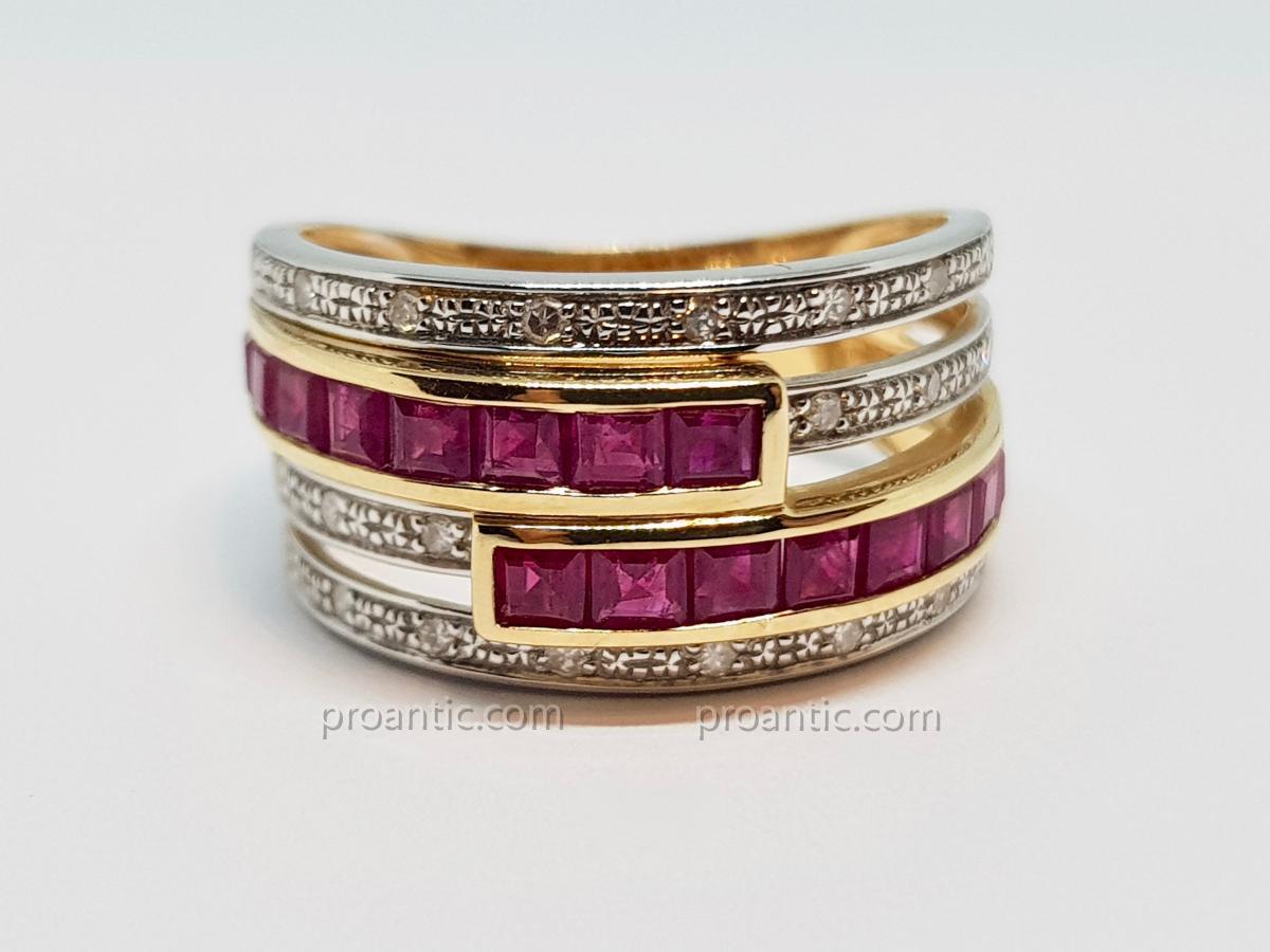 Bague Rubis & Diamants En Or Jaune 18 Carats 750/1000 5.42 Grammes