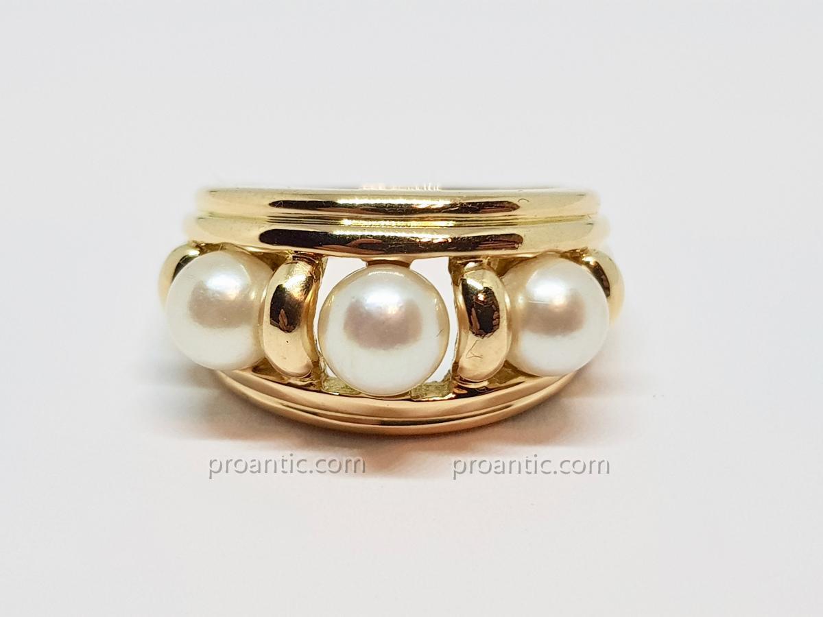 Bague Trilogie Perles De Culture En Or Jaune 18 Carats 750/1000 9.24 Grammes
