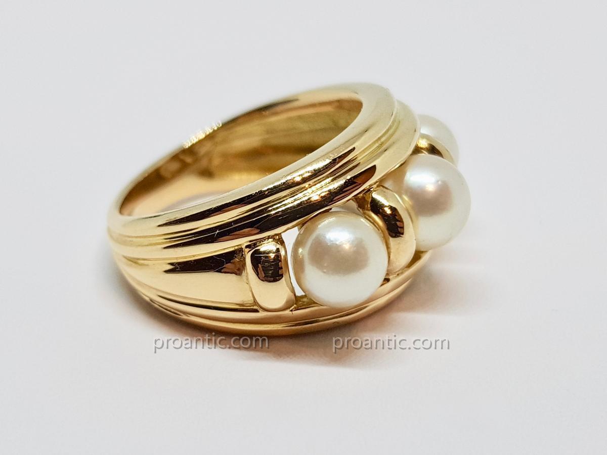 Bague Trilogie Perles De Culture En Or Jaune 18 Carats 750/1000 9.24 Grammes-photo-3