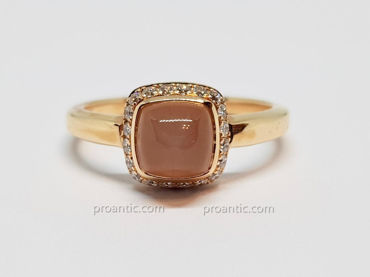 Bague Fred Quartz Rose & Diamants En Or Rose 18 Carats 750/1000 3.26 Grammes