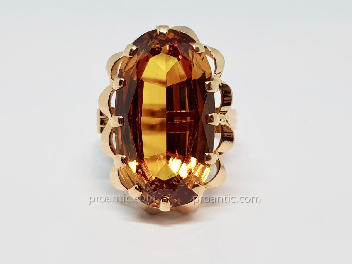 Ring - Solitaire Citrine 7.60 Carats In Yellow Gold 18 Carats 750/1000 6 Grams