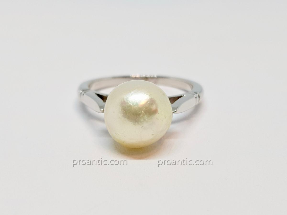 Bague - Solitaire En Or Blanc 18 Carats 750/1000 Perle Baroque 4.91 Grammes