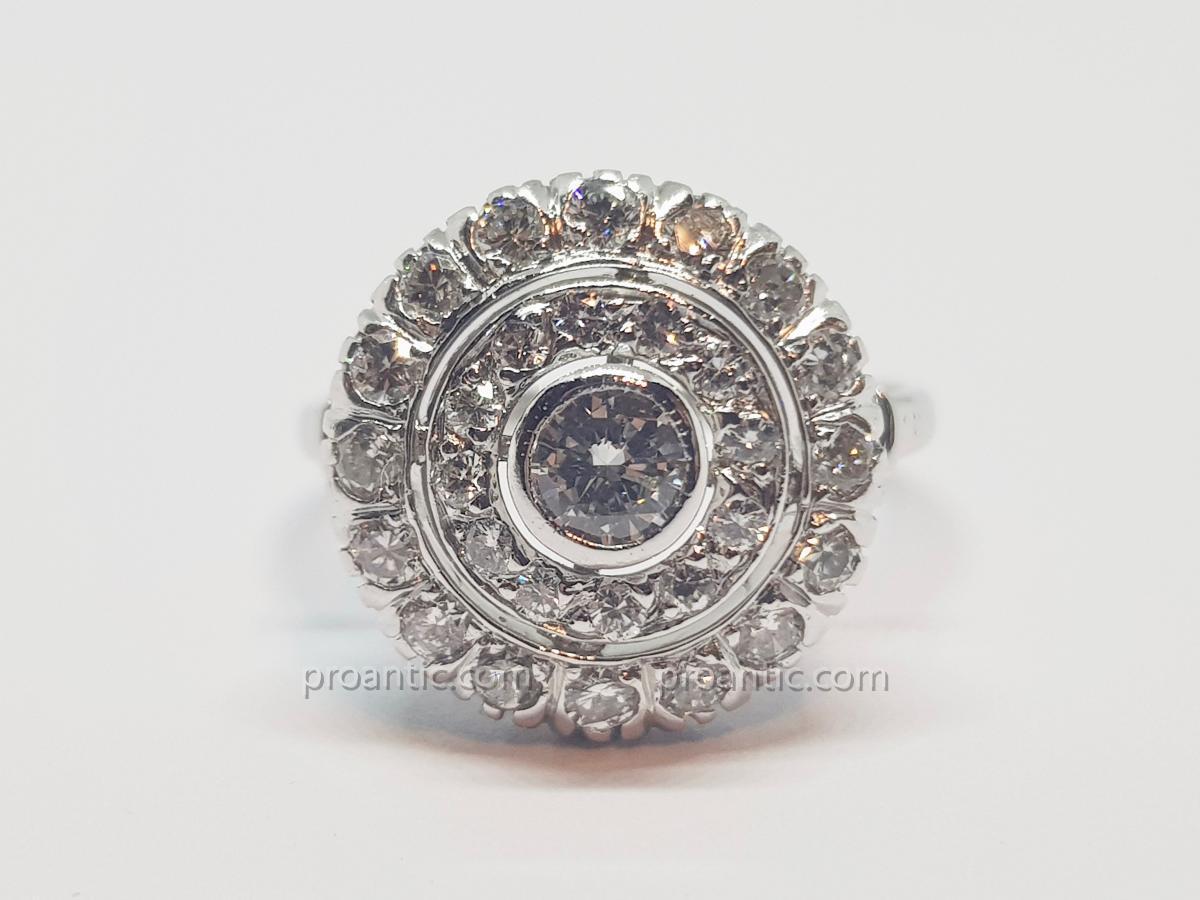 Old Ring Diamonds 1.50 Carat In White Gold 18 Carats 750/1000 4.11 Grams