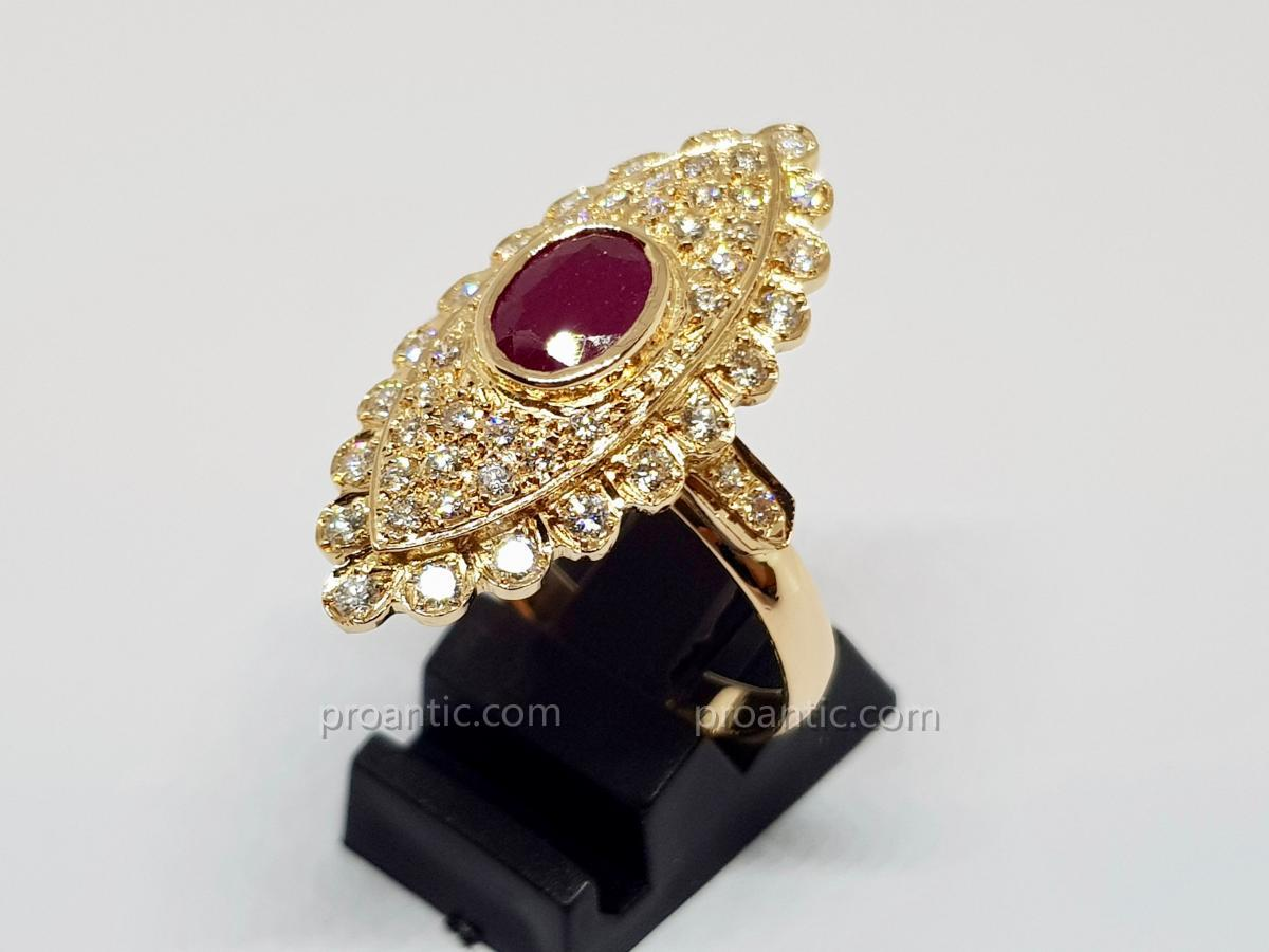 Bague Marquise Rubis & Diamants En Or Jaune 18 Carats 750/1000 8.97 Grammes