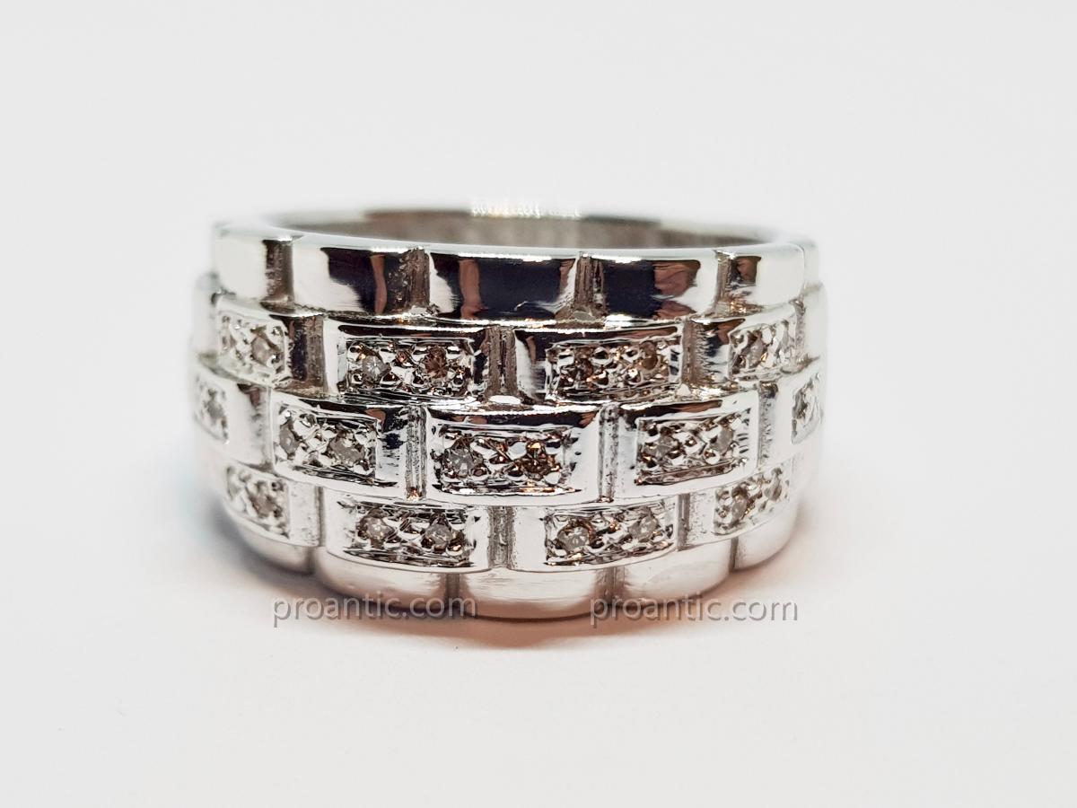 Bague Diamants 0.30 carat en Or blanc 18 carats 750/1000 13.18 grammes