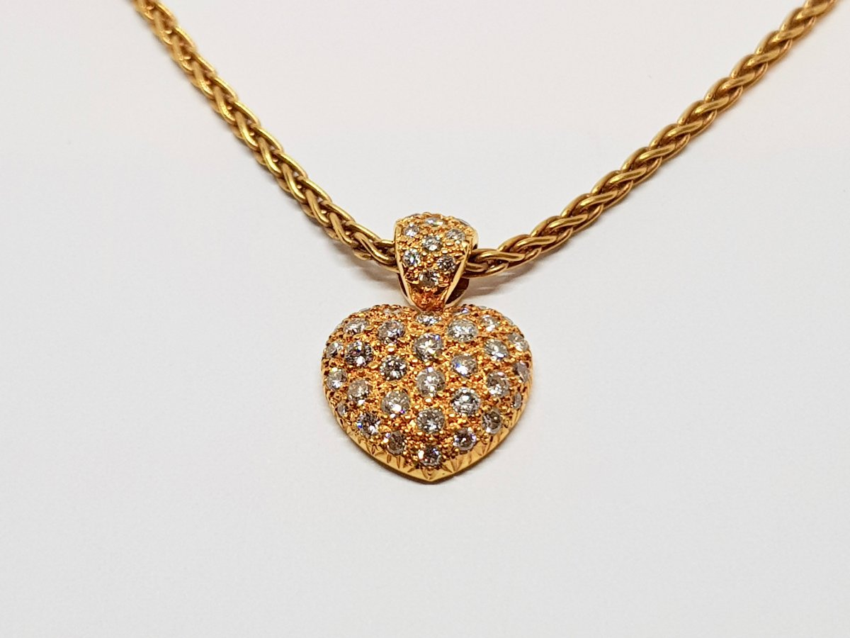 Collier - Ras De Cou Coeur En Or Jaune 18 Carats 750/1000 Diamants 8.66 Grammes