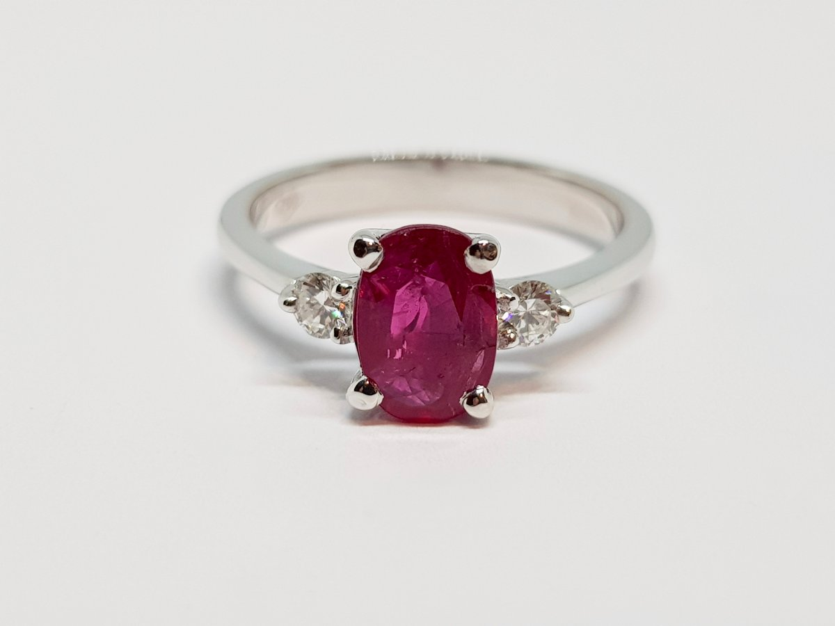 Ruby & Diamond Engagement Ring White Gold 18 Carats 750/1000 2.96 Grams