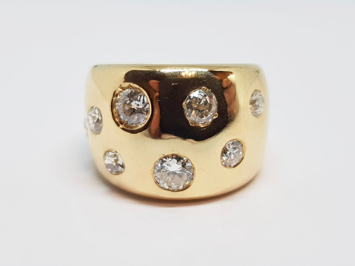 Bague ancienne Diamants 1.70 Carat En Or Jaune 18 Carats 750/1000 12.08 Grammes