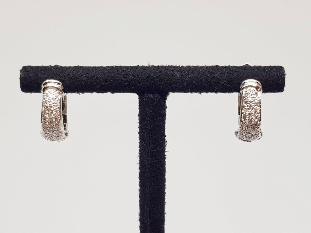 Boucles Créole Diamants 0.24 Carat En Or Blanc 18 Carats 750/1000 6.20 Gramme