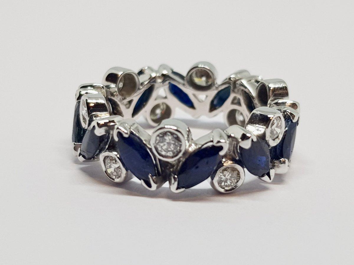 Alliance Saphirs & Diamants En Or Blanc 18 Carats 750/1000 4.80 Grammes