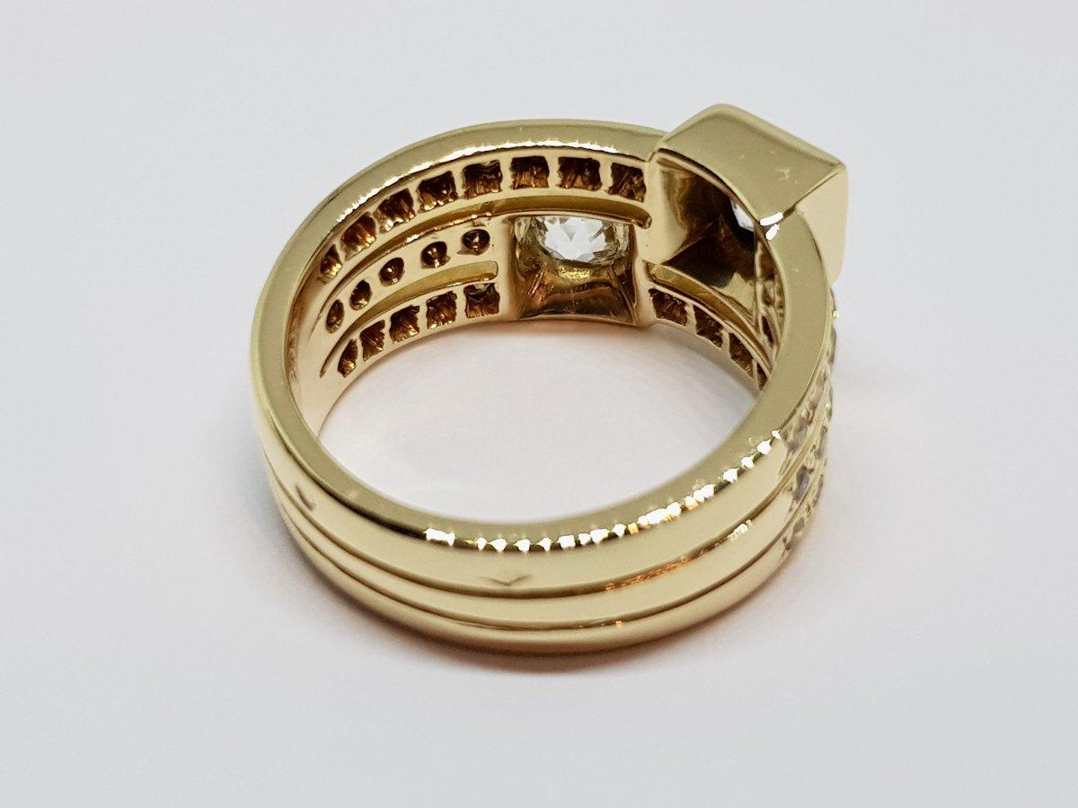 Bague Ancienne Diamants 1.70 Carat En Or Jaune 18 Carats 750/1000 10.30 Grammes-photo-1