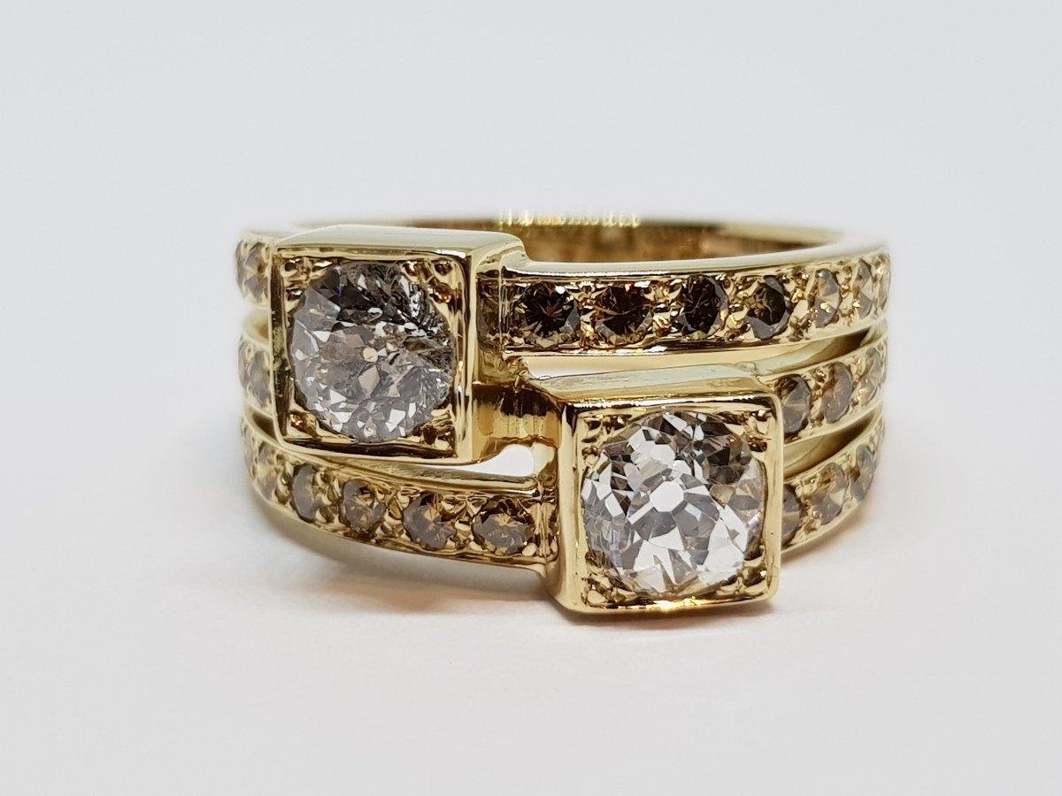 Bague Ancienne Diamants 1.70 Carat En Or Jaune 18 Carats 750/1000 10.30 Grammes-photo-2