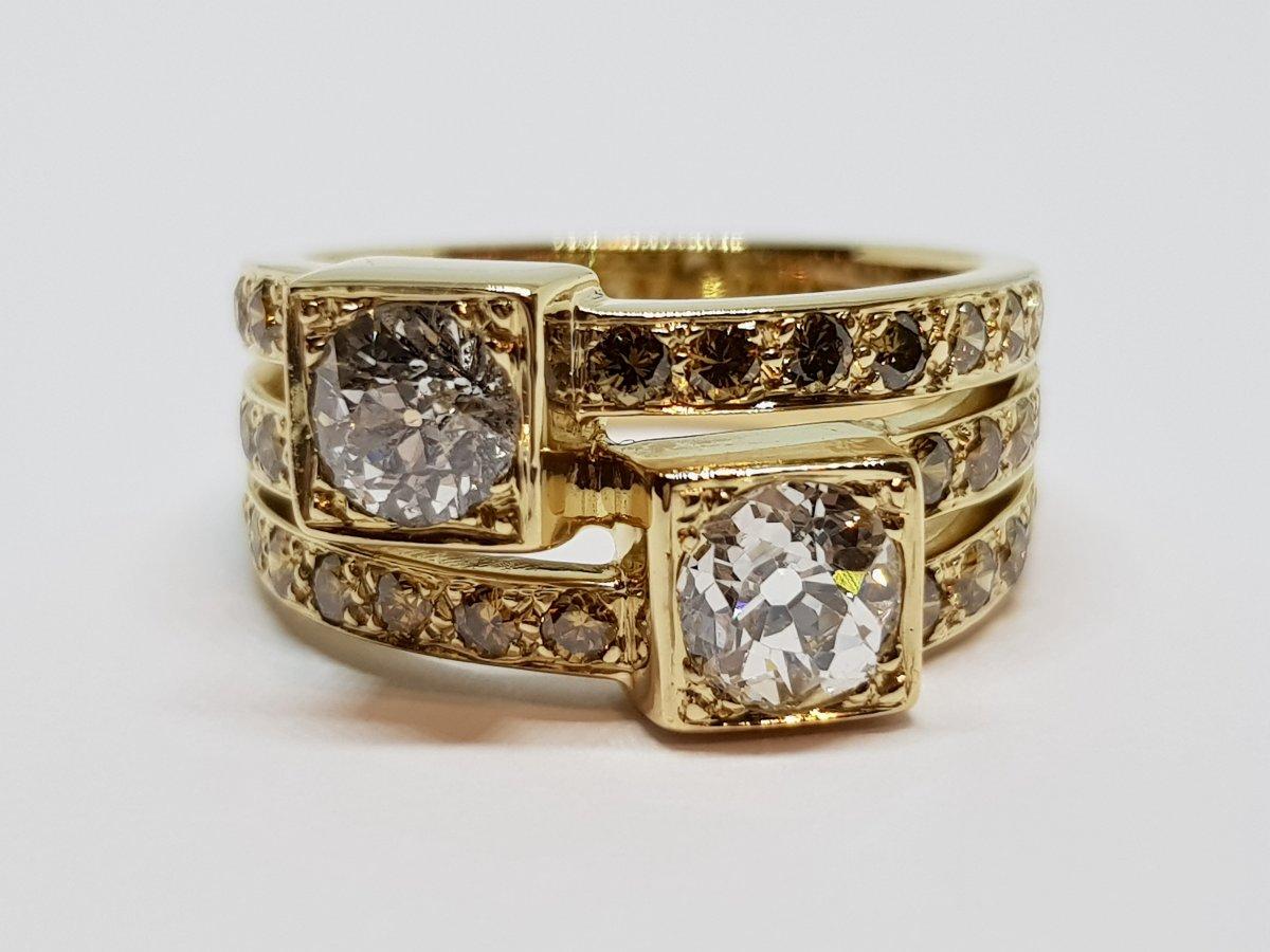 Ancient Diamonds Ring 1.70 Carat In 18k Yellow Gold 750/1000 10.30 Grams