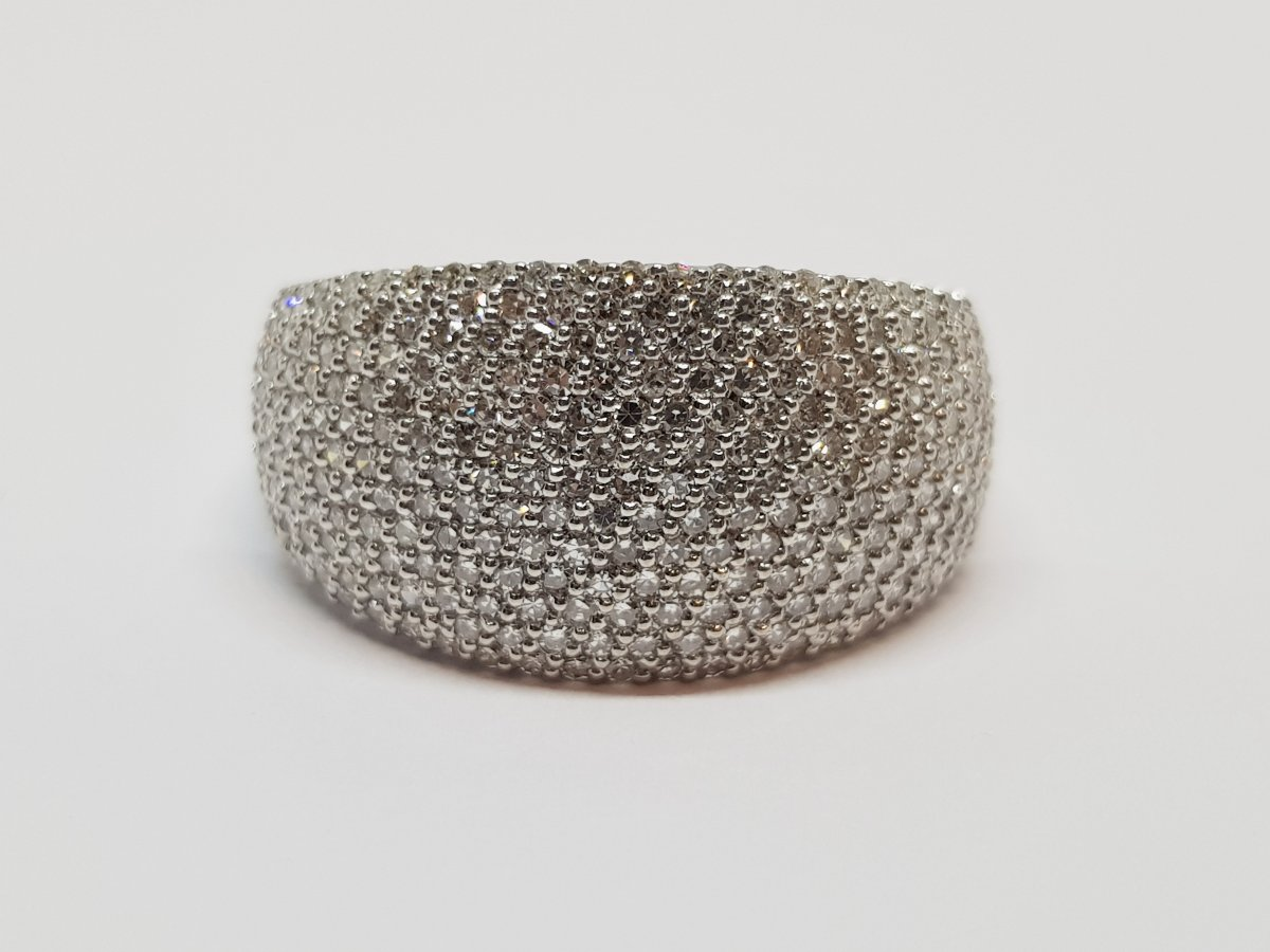 Bague Diamants 1 Carat En Or Blanc 18 Carats 750/1000 7.71 Grammes