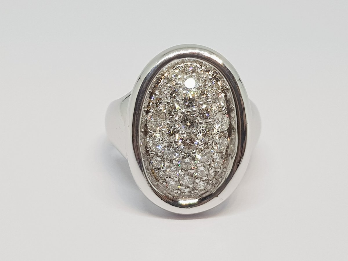 Bague Diamants En Or Blanc 18 Carats 750/1000 16.90 Grammes