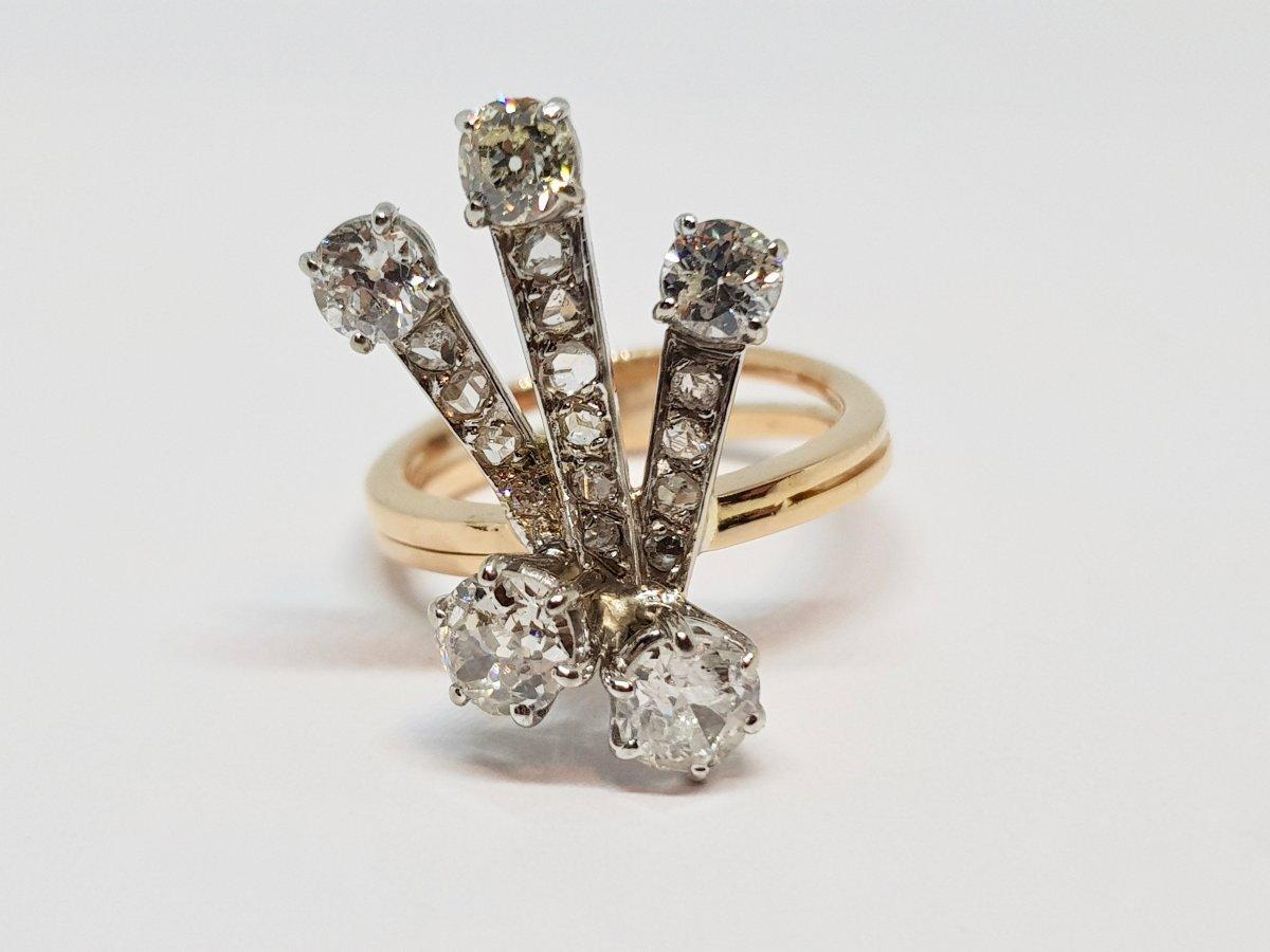 Old Ring 2 Yellow & White Gold 18 Carats Diamonds 1.70 Carat 6 Grams