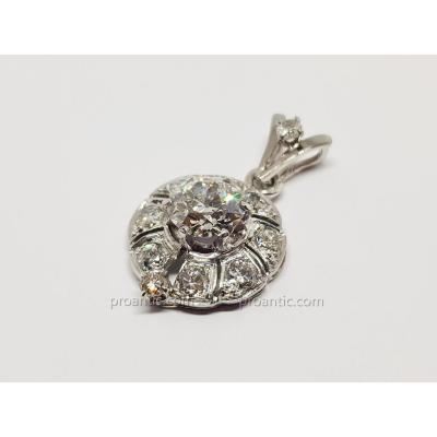 Pendentif Art Déco Or Blanc 18k 750/1000 & Platine 850/1000 11 Diamants 3 Carats 5.53 Grammes
