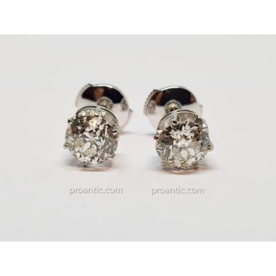 Earrings White Gold 18 Carat 750/1000 Diamonds 2 Carats 2.55 Grams