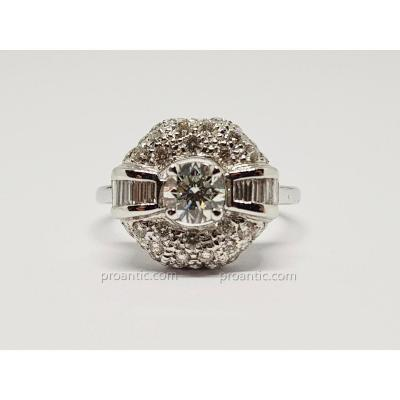 Bague Or Blanc 18 Carats 750/1000 Diamants 0.60 Carat 3.30 Grammes