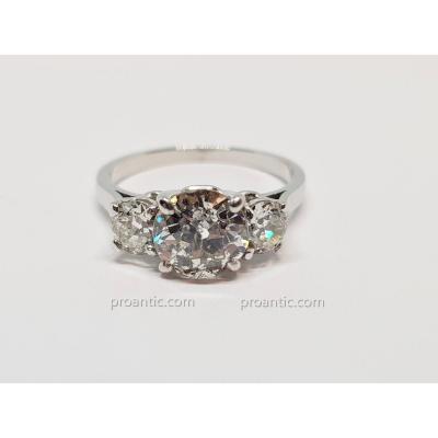 Bague Ancienne En Platine 850/1000 3 Diamants 2 Carats 3.60 Grammes