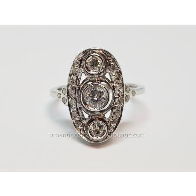 Bague Ancienne Art Deco En Or Blanc 18 Carats 750/1000 Diamants 0.80 Carat 5 Grammes