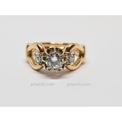 Bague Ancienne En Or Jaune 18 Carats 750/1000 3 Diamants 0.50 Carat 6.22 Grammes