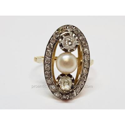 Bague Ancienne En Or Jaune 18 Carats 750/1000 Platine 850/1000 Perle & Diamants 4.50 Grammes