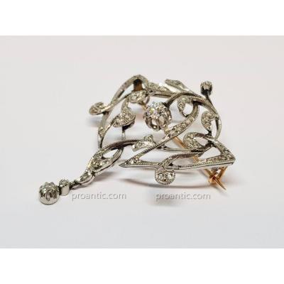 Broche ancienne années 1900 2 ors jaune & blanc 18 carats 750/1000 diamants 11.50 grammes