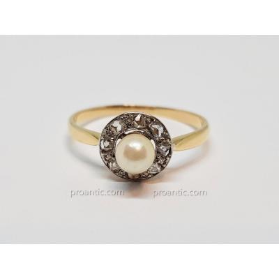 Bague Ancienne Perle Culture & Roses De Diamant En Or Jaune 750/1000 2.52 Grammes