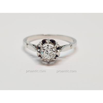 Solitaire Ancien Diamant 0.50 Carat  En Or Blanc 18 Carats 750/1000 2.86 Grammes