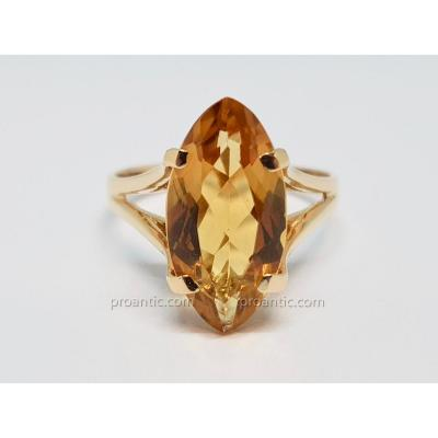 Bague Marquise - Solitaire Citrine 3 Carats Or Jaune 18 Carats 750/1000 3.76 Grammes