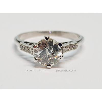 Bague Fiançailles - Solitaire Diamant 1.56 Carat en Platine 950/1000 4.10 Grammes