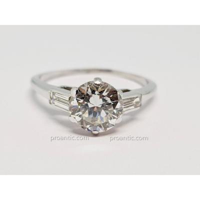 Bague Fiançailles Diamants 1.50 Carat En Or Blanc 18 Carats 750/1000 2.80 Grammes