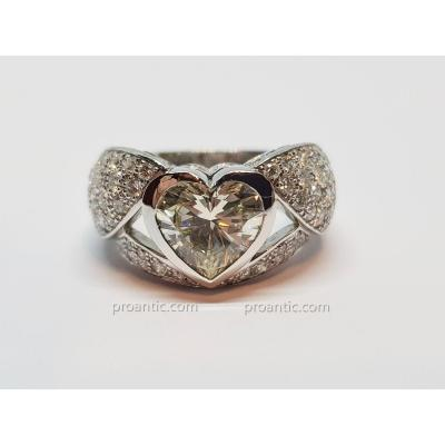 Bague Coeur En Or Blanc 18 Carats 750/1000 Diamants 4.90 Carats 10.64 Grammes