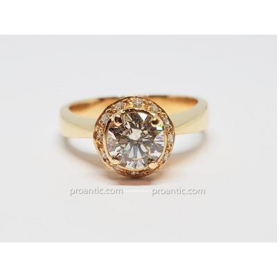 Bague fiançailles - Solitaire Diamants 1.50 carat en Or jaune 18 carats 800/1000 7.30 grammes