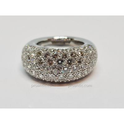 Bague Jonc En Or Blanc 18 Carats 750/1000 93 Diamants 2.80 Carats 12.83 Grammes
