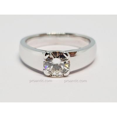 Solitaire Fiançailles Diamant 0.82 Carat En Or Blanc 18 Carats 750/1000 6.45 Grammes