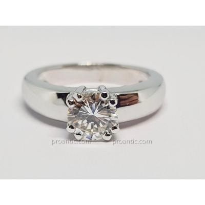 Solitaire Fiançailles Diamant 0.93 Carat En Or Blanc 18 Carats 750/1000 6.76 Grammes