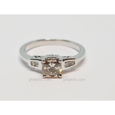 Bague Fiançailles Diamants 1 Carat En Or Blanc 18 Carats 750/1000 4.16 Grammes